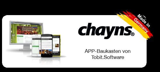 chayns - APP-Baukasten von Tobit.Software - CARRANO IT-Consulting Ihr regionale Tobit Solution Partner (5-Sterne) im Rhein-Main-Gebiet. Erfahrung seit über 20 Jahren. Auf jeden Endgeräte seine Kunden in der Hosentasche präsent, Push-Nachrichten, Local-Based Service mit iBeacon, Offine Verfügbarkeit auf Monitoren, integriertes Payment, Benutzerverwaltung für geschütze Bereiche, ChatFunktion auch nur für Benutzergruppen, Shopfunktionen, Reservierungsfunktionen, eTickting